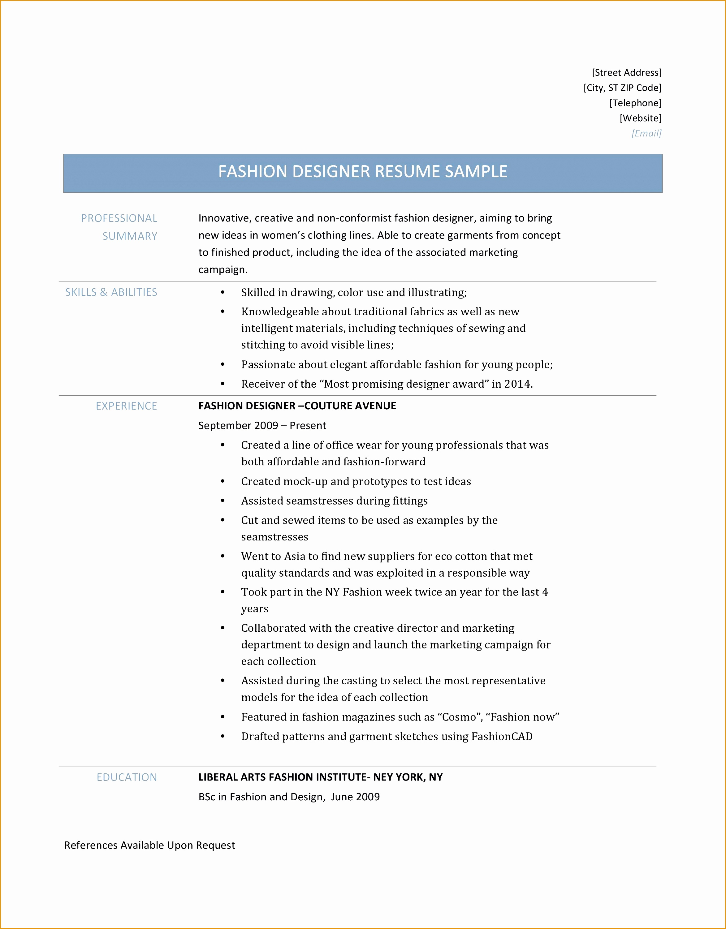 Fashion Resume Format 6 Fashion Design Resume Samples Free Samples Examples