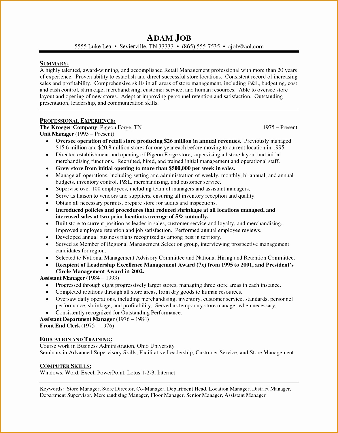 Resume Samples Retail 6 Resume Cover Letter Template Free Samples Examples