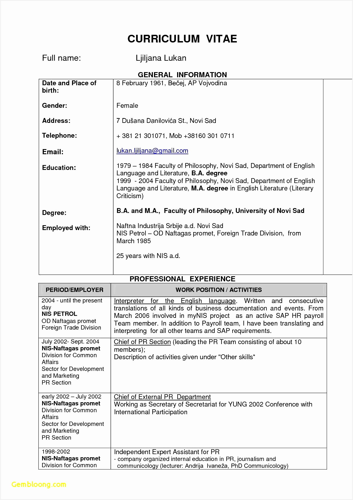 Blank Resume Format Download 4 Blank Cv Template To Fill In Free Samples Examples