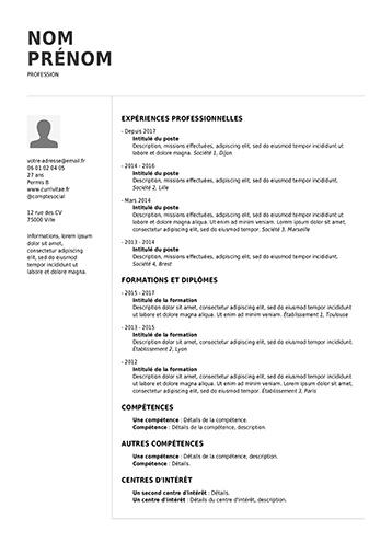 modele de cv professionnel pdf
