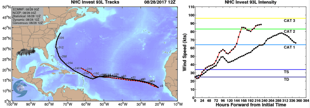 medium resolution of the plot below shows an early forecast from cfan showing cfan s calibrated tracks and intensities for the ecwmf deterministic red and the ensemble mean