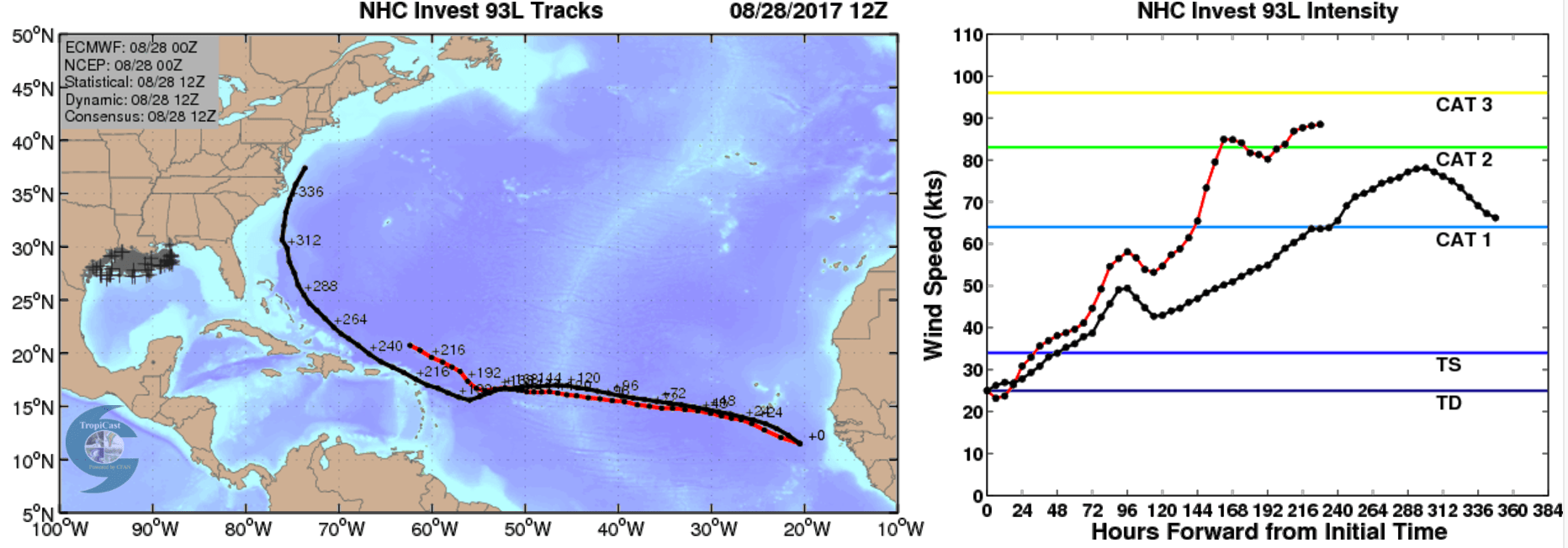 hight resolution of the plot below shows an early forecast from cfan showing cfan s calibrated tracks and intensities for the ecwmf deterministic red and the ensemble mean