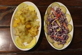 Carambola and chikoo,red cabbage salad
