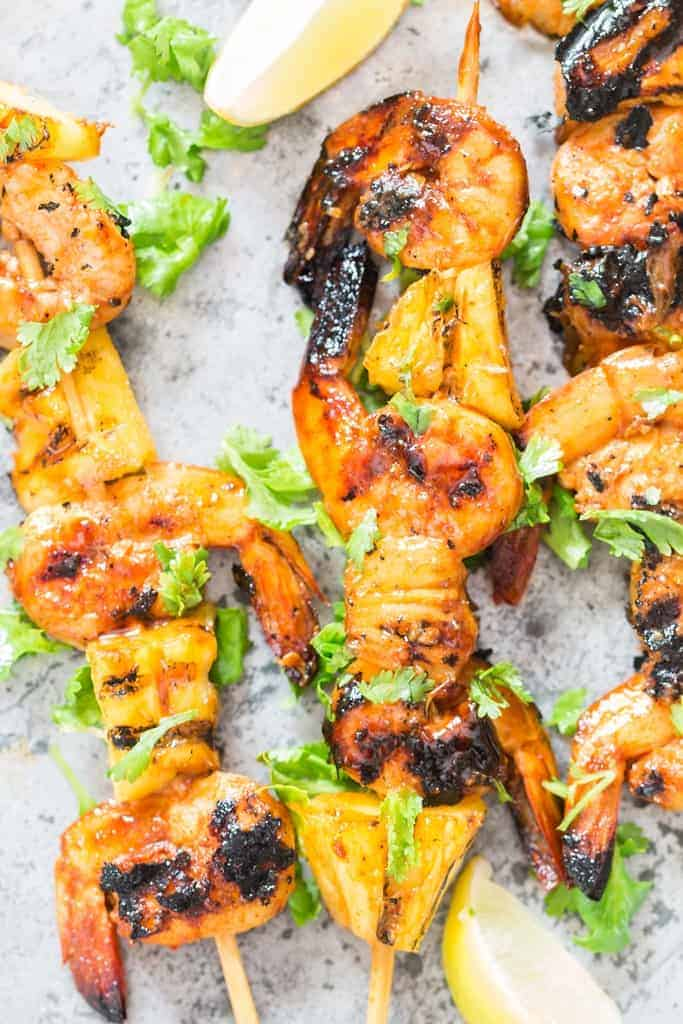 Marinated Teriyaki Shrimp Skewers With Bacon And Pineapple : marinated, teriyaki, shrimp, skewers, bacon, pineapple, Teriyaki, Grilled, Pineapple, Shrimp, Skewers, (Video), CurryTrail