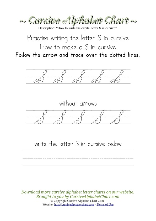 How To Write A Capital S In Cursive : write, capital, cursive, Write, Cursive, Alphabet, Chart.com