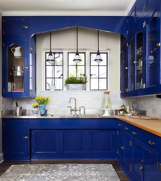 Decoracion de cocinas en color azul marino  Curso de