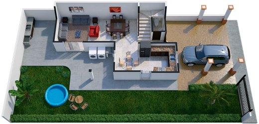 Diseño de interiores y plano de una casa con estilo