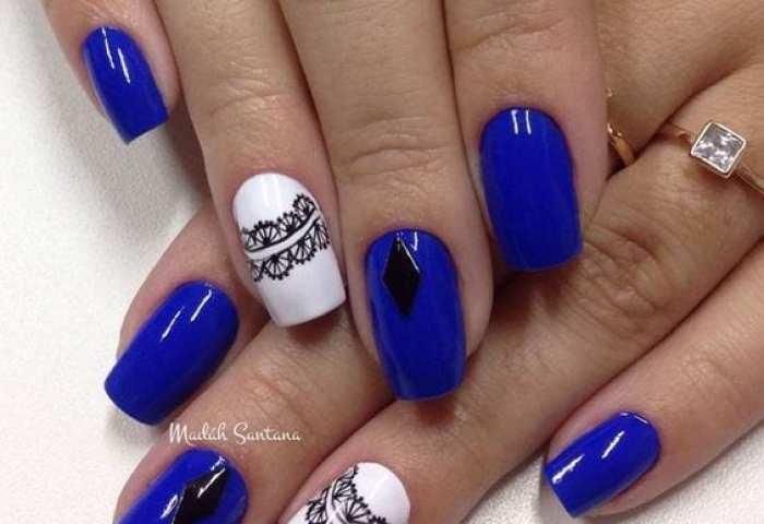 Uñas Decoradas Color Azul Rey Curso De Organizacion Del Hogar Y