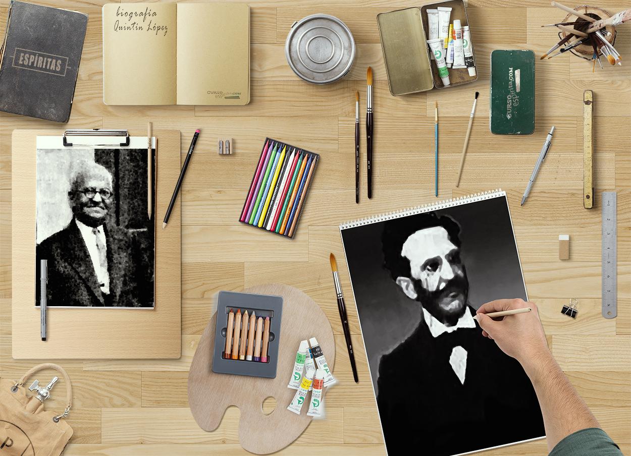 Ilustraciones biografía Quintín López Gómez