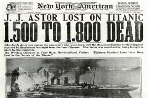 Noticia del New York American del hundimiento del Titanic