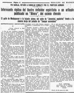 Página 6 de el Heraldo de Madrid (8-2-1935) que contiene la segunda parte del artículo Metempsicosis y Espiritismo