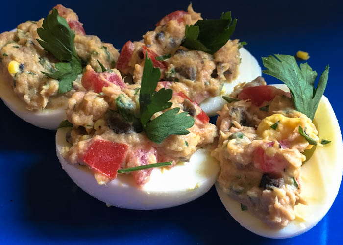tuna confit deviled eggs