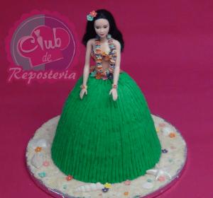 Torta como Barbie Hawaiana por Rosa Quintero