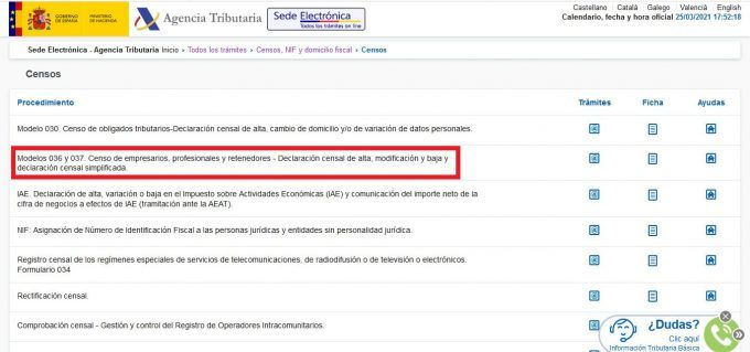 Baja autónomos Hacienda online paso 3