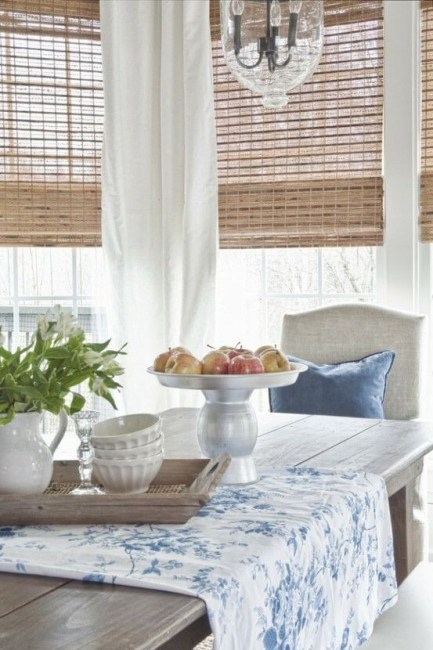 Faux Wood Blinds With Curtains, Sheer, Dark **2021 Door Curtain