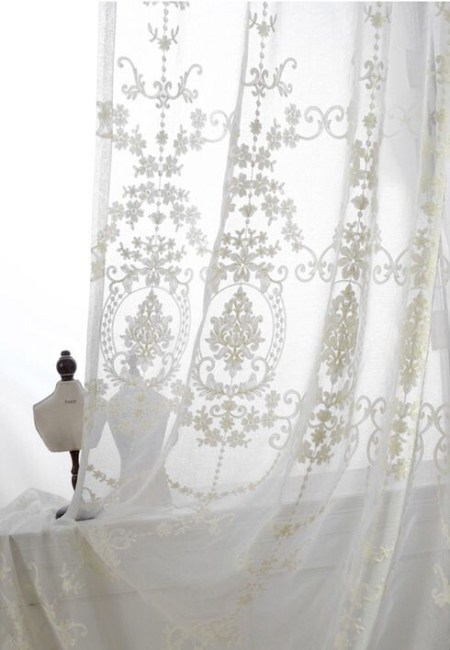 White Embroidered Tulle Curtains, Blackout, Voile **2021 Curtain
