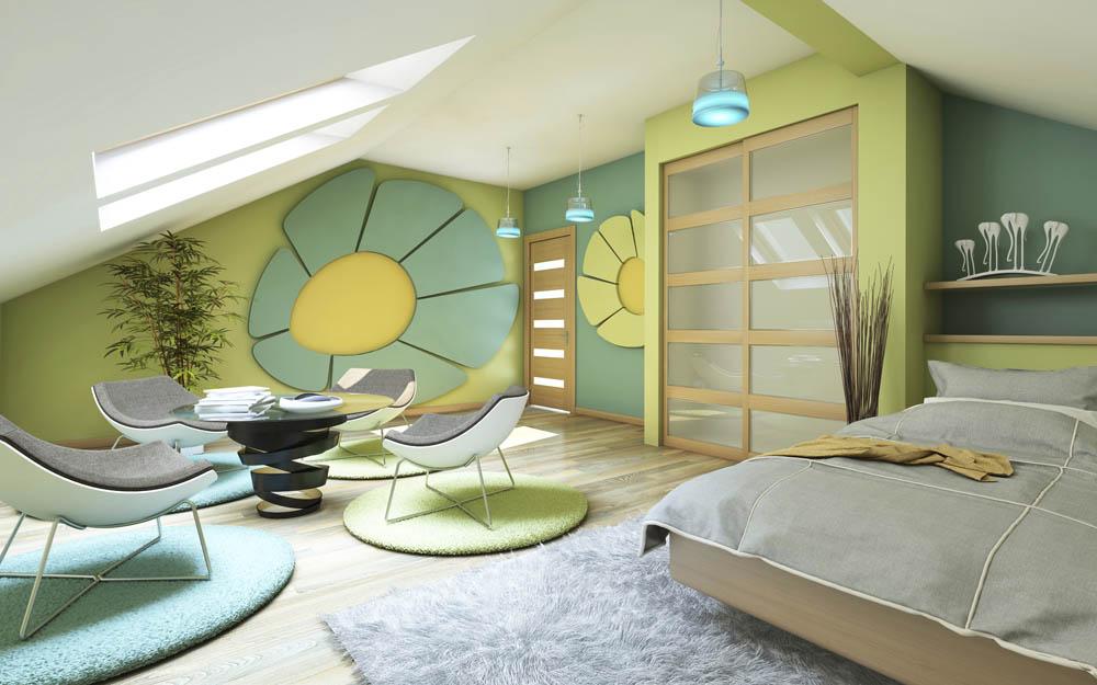 Dormered Teen Bedroom 70s Style Flower Power Interior