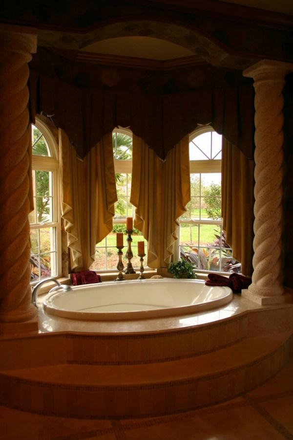 Glamorous Bathroom Window Treatment Interior Design
