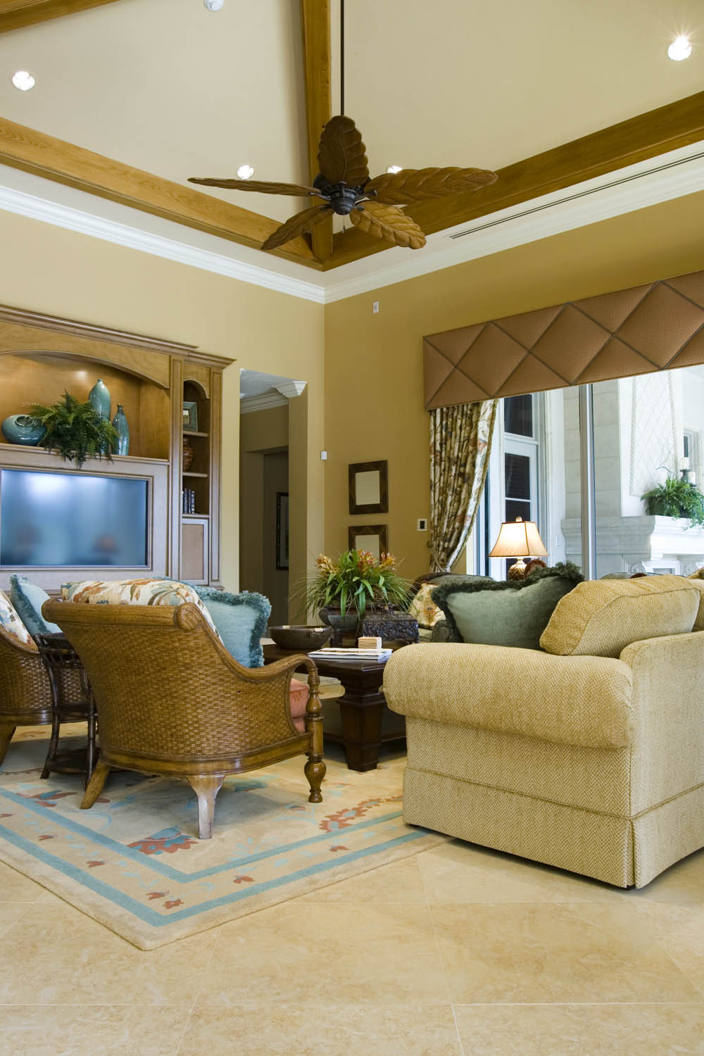 Quilted golden cornice window treatment  Interior Design