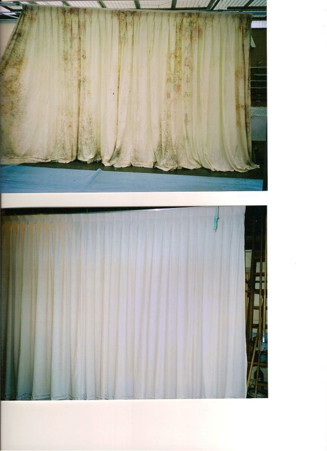 Curtains Stored wet. Big curtains restored and rehung.