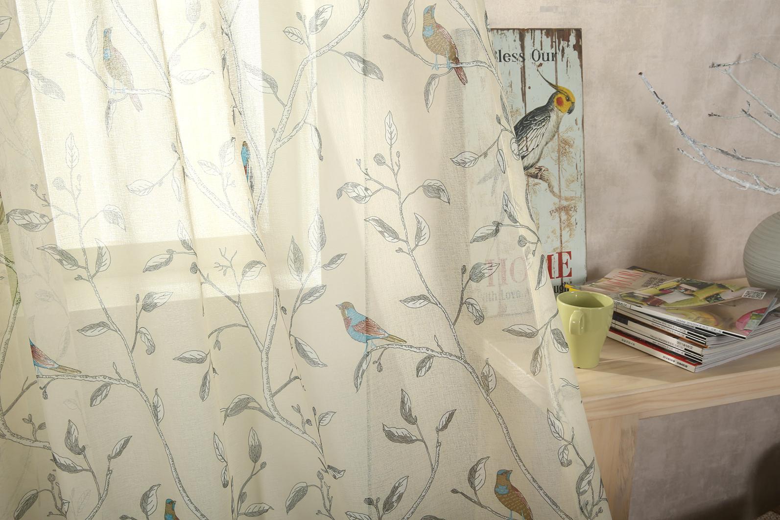 Oriental Bird Eyelet Voile Cream  Curtains At Home