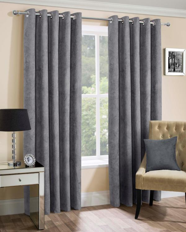 Faux Suede Eyelet Curtains Home