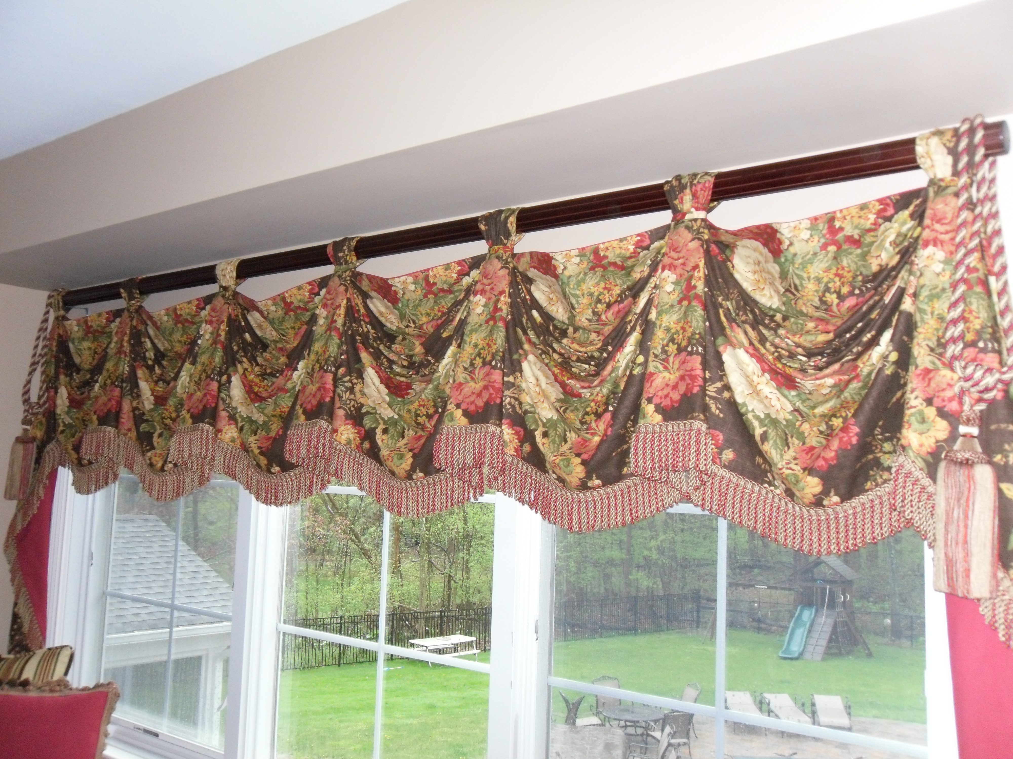 formal living room curtains purple and grey wallpaper valances swags by boutique in nj