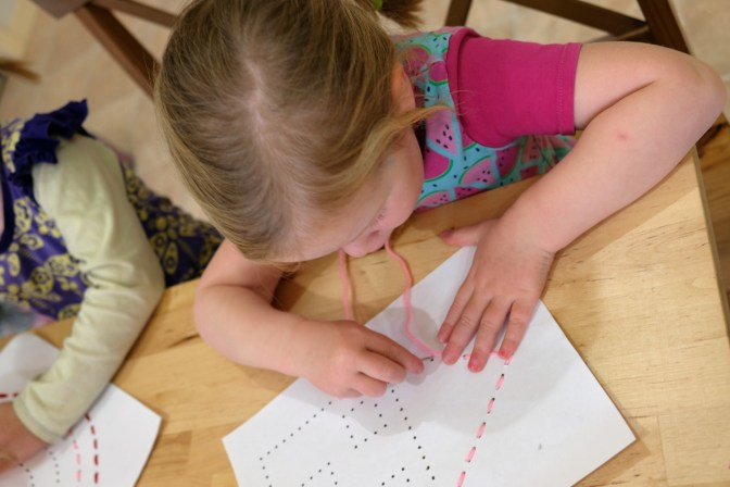 Kids hand sewing