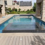 Swimming pool with feature in a complex estate
