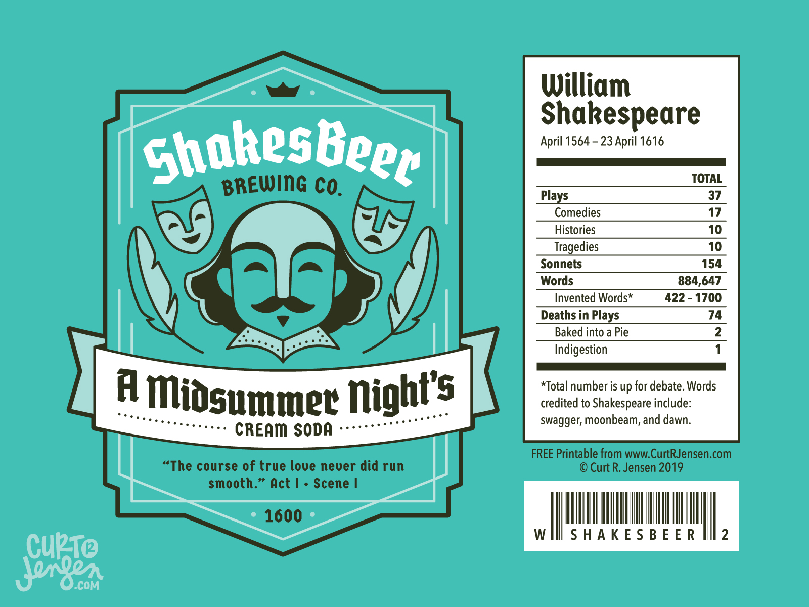 A Midsummer Night's Cream Soda Label - ShakesBeer Brewing Co.