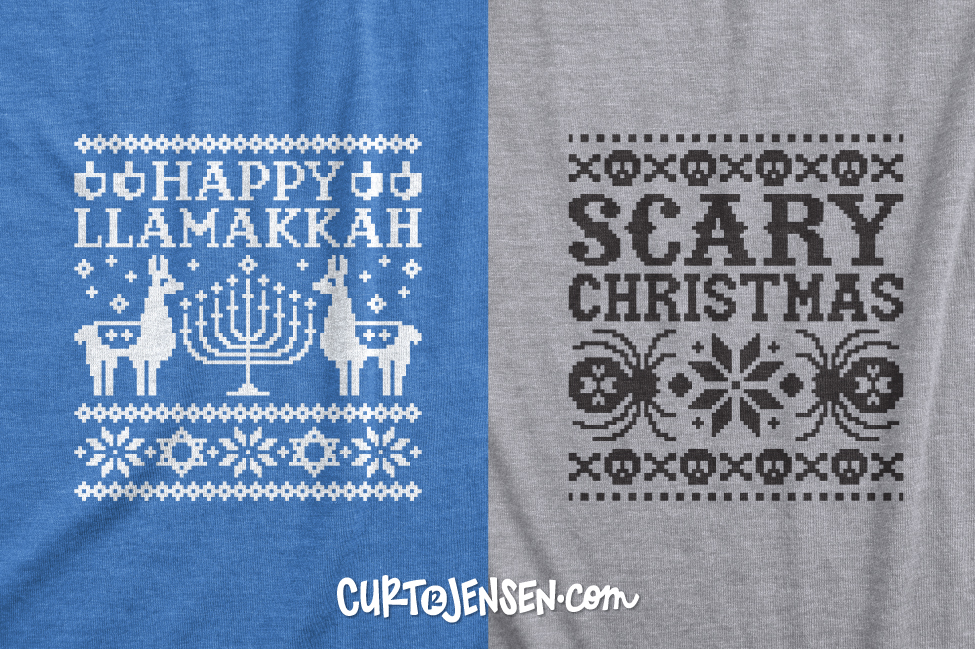 DIY Ugly Sweater T-shirts, Hanukkah and Christmas