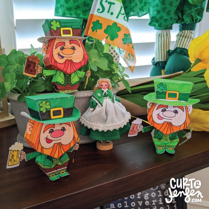 Printable Leprechaun Paper Toy from CurtRJensen.com