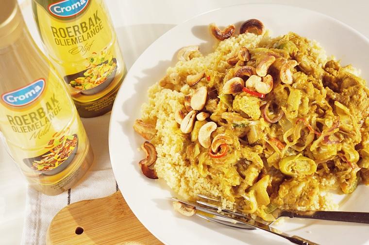 croma roerbak oliemelange 3 - Groene curry recept met Croma roerbak oliemelange