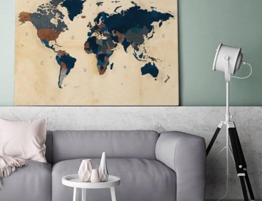 wereldkaart op canvas