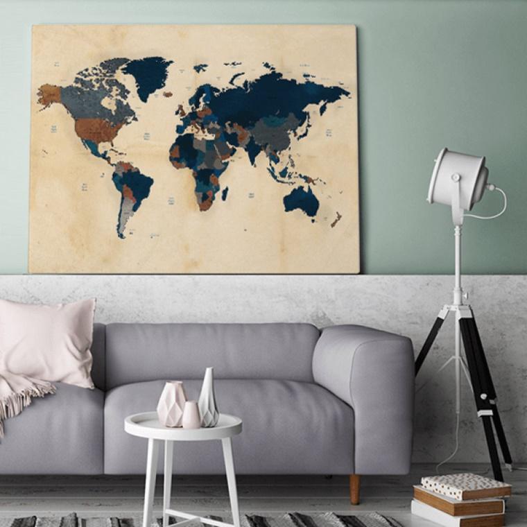 wereldkaart op canvas 2 - Interieur | Een mooie wereldkaart op canvas aan je muur