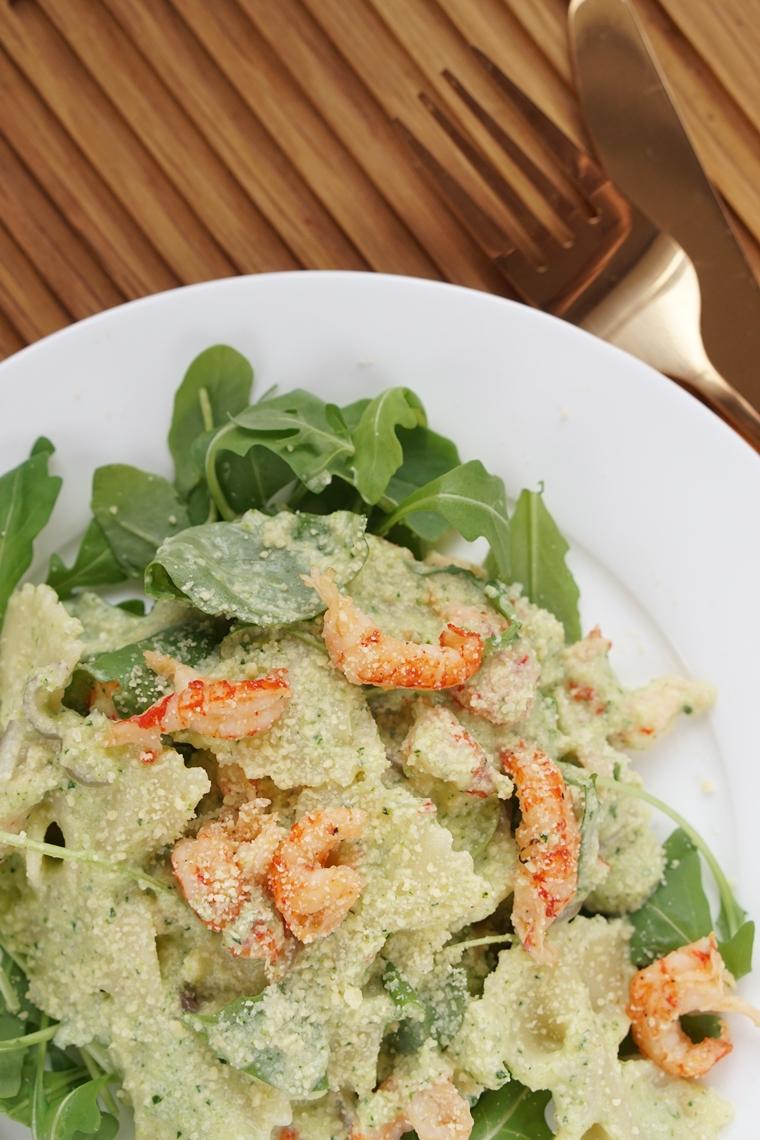 pasta met gourgetteroom en rivierkreeftjes recept