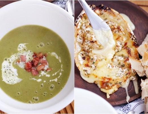 spinazie courgette soep / camembert uit de oven