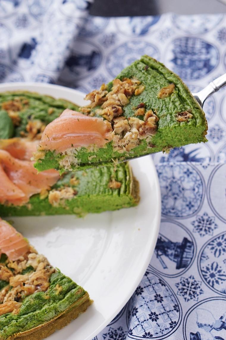 hartige taart met spinazie en zalm recept
