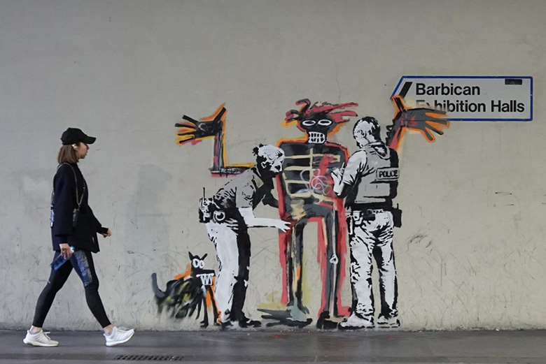 banksy's homage to basquiat at the barbican