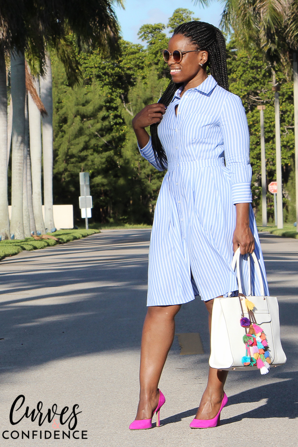 cute work outfits, summer work outfit, shirt dress, shirt dress and pink pumps, pom poms, how to wear pom poms to work, pom pom tassels