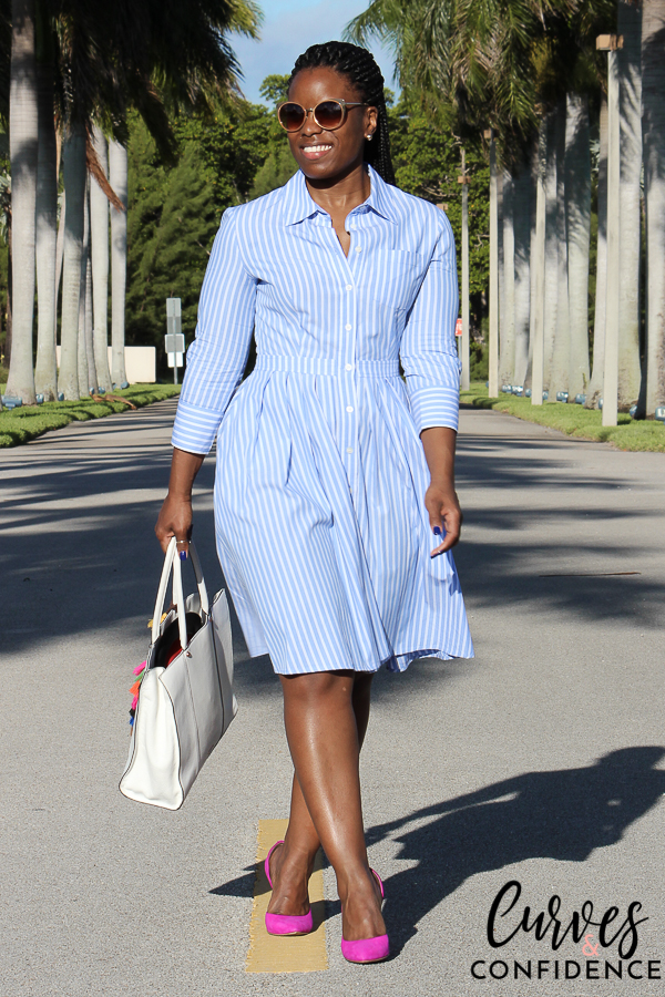 striped shirt dress, how to wear a shirt dress, pleated shirt dress, curvy style blogger, how to dress for work, outfits office managers wear, professional work outfit