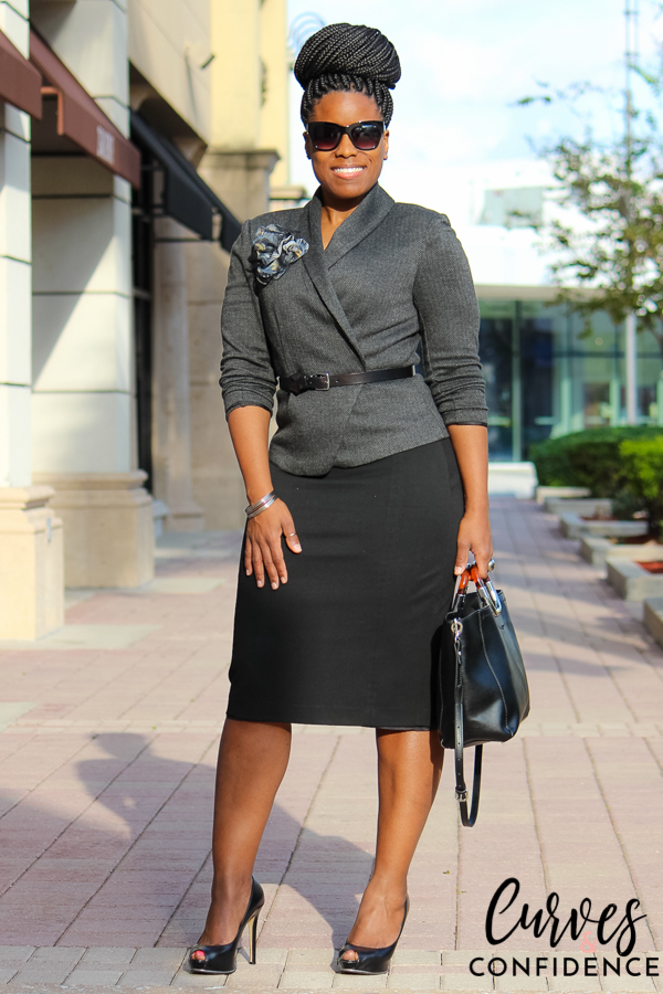 Curves and Confidence: Gray H&M Blazer and Black Express Pencil Skirt