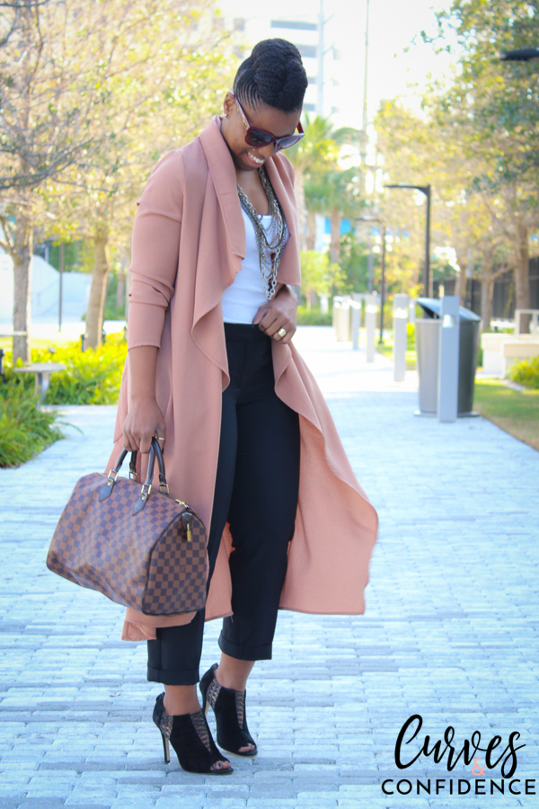 Curves and Confidence: Long Draped Front Jacket