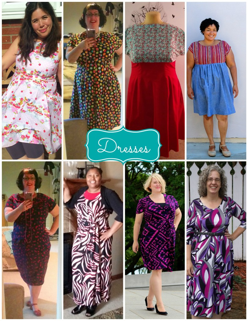 dress collage red purple pink