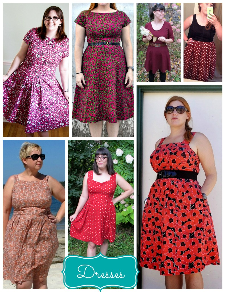 dresses reds pinks purple collage