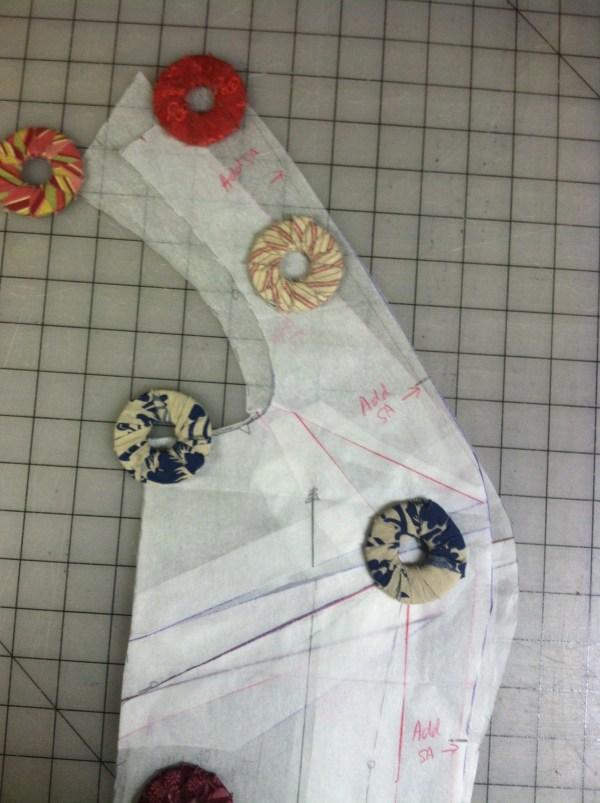 FBA-then-princess seams pattern piece laid on top of princess seams-then-FBA pattern piece