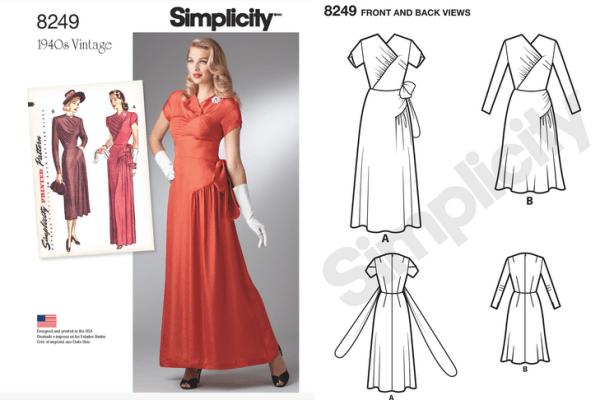 Simplicity 8249 - Misses' Vintage 1940s Gown