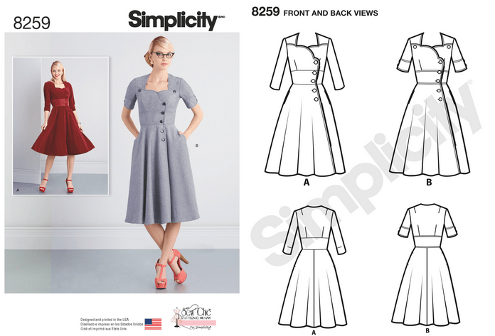Simplicity 8259 - Misses' Sew Chic Dresses
