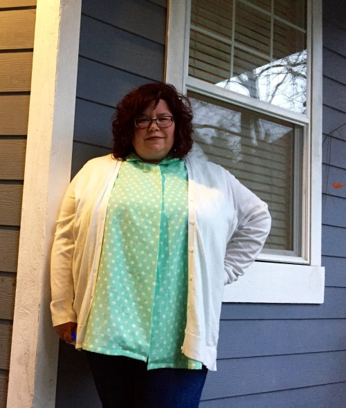 Michelle blouse - styled with cardigan