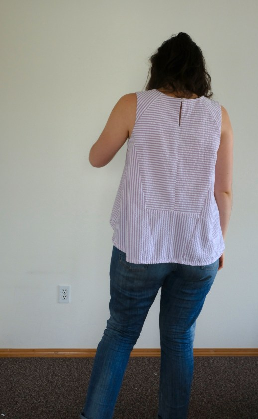 Modeling the back view of the collins top, which features lots of paneling.